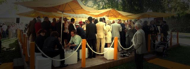 Die Veuve Clicquot Lounge auf der Rennbahn Iffezheim